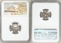 MACEDONIAN KINGDOM. Alexander III the Great (336-323 BC). AR drachm (17mm, 4.26 gm, 8h). NGC Choice VF 5/5 - 4/5. Early posthumous issue of Lampsacus,...