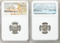 MACEDONIAN KINGDOM. Alexander III the Great (336-323 BC). AR drachm (17mm, 4.19 gm, 12h). NGC VF 5/5 - 4/5. Posthumous issue of Miletus ca. 323-319 BC...