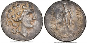 THRACIAN ISLANDS. Thasos. Ca. 2nd-1st centuries BC. AR tetradrachm (31mm, 11h). NGC Choice XF. Ca. 148-90/80 BC. Head of Dionysus right, crowned with ...