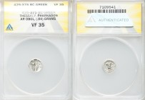 THESSALY. Pharcadon. Ca. 425-375 BC. AR obol (12mm, 0.84 gm, 3h). ANACS VF 35. Horse prancing right / ΦΑΡ-ΚΑΔO, Athena standing right, transverse spea...