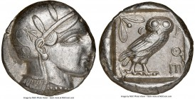 ATTICA. Athens. Ca. 455-440 BC. AR tetradrachm (24mm, 17.17 gm, 4h). NGC AU 4/5 - 4/5. Early transitional issue. Head of Athena right, wearing crested...