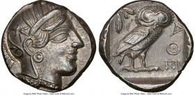 ATTICA. Athens. Ca. 440-404 BC. AR tetradrachm (24mm, 17.18 gm, 4h). NGC MS 5/5 - 4/5, die shift. Mid-mass coinage issue. Head of Athena right, wearin...