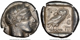 ATTICA. Athens. Ca. 440-404 BC. AR tetradrachm (25mm, 17.15 gm, 5h). NGC Choice AU 4/5 - 5/5. Mid-mass coinage issue. Head of Athena right, wearing cr...