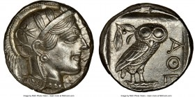ATTICA. Athens. Ca. 440-404 BC. AR tetradrachm (24mm, 17.19 gm, 10h). NGC Choice AU 5/5 - 4/5, brushed. Mid-mass coinage issue. Head of Athena right, ...