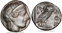 ATTICA. Athens. Ca. 440-404 BC. AR tetradrachm (24mm, 17.17 gm, 9h). NGC Choice AU 5/5 - 3/5, brushed. Mid-mass coinage issue. Head of Athena right, w...