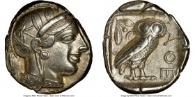 ATTICA. Athens. Ca. 440-404 BC. AR tetradrachm (24mm, 17.18 gm, 2h). NGC AU 5/5 - 5/5. Mid-mass coinage issue. Head of Athena right, wearing crested A...
