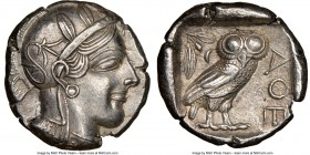 ATTICA. Athens. Ca. 440-404 BC. AR tetradrachm (24mm, 17.16 gm, 3h). NGC AU 5/5 - 5/5. Mid-mass coinage issue. Head of Athena right, wearing crested A...