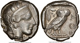 ATTICA. Athens. Ca. 440-404 BC. AR tetradrachm (24mm, 17.14 gm, 1h). NGC AU 5/5 - 3/5. Mid-mass coinage issue. Head of Athena right, wearing crested A...