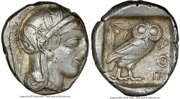 ATTICA. Athens. Ca. 440-404 BC. AR tetradrachm (25mm, 17.19 gm, 1h). NGC AU 4/5 - 4/5. Mid-mass coinage issue. Head of Athena right, wearing crested A...