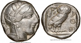 ATTICA. Athens. Ca. 440-404 BC. AR tetradrachm (24mm, 17.13 gm, 4h). NGC AU 4/5 - 4/5. Mid-mass coinage issue. Head of Athena right, wearing crested A...
