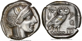 ATTICA. Athens. Ca. 440-404 BC. AR tetradrachm (24mm, 17.21 gm, 7h). NGC AU 5/5 - 2/5, brushed. Mid-mass coinage issue. Head of Athena right, wearing ...