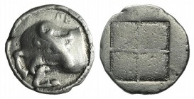 Macedon, Akanthos, c. 470-390 BC. AR Tetrobol (15mm, 2.29g). Forepart of bull l., head r.; ΠE above. R/ Quadripartite incuse square with granulated re...