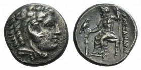 Kings of Macedon, Alexander III 'the Great' (336-323 BC). AR Drachm (16mm, 4.08g, 11h). Lampsakos, c. 328-323 BC. Head of Herakles r. wearing lion's s...