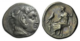 Kings of Macedon, Alexander III 'the Great' (336-323 BC). AR Drachm (16mm, 4.36g, 3h). Abydos, c. 325-323 BC. Head of Herakles r., wearing lion's skin...