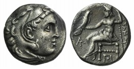 Kings of Macedon, Alexander III 'the Great' (336-323 BC). AR Drachm (16mm, 4.08g, 3h). Magnesia ad Meandrum, c. 319-305 BC. Head of Herakles r. wearin...
