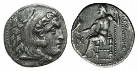 Kings of Macedon, Alexander III 'the Great' (336-323 BC). AR Drachm (18mm, 4.04g, 12h). Miletos, c. 295-275 BC. Head of Herakles r., wearing lion skin...