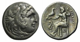 Kings of Macedon, Philip III Arrhidaios (323-317). AR Drachm (17mm, 4.04g, 6h). In the name of Alexander III. Lampsakos. Head of Herakles r., wearing ...