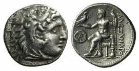 Kings of Macedon, Demetrios I Poliorketes (306-283 BC). AR Drachm (18mm, 4.14g, 11h). In the name and types of Alexander III. Miletos, c. 295/4 BC. He...