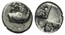 Thrace, Chersonesos, c. 386-338 BC. AR Hemidrachm (13mm, 2.19g, 12h). Forepart of lion r., head reverted. R/ Quadripartite incuse square with alternat...