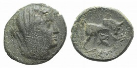 Euboia, Euboian League, c. 191-170 BC. Æ (19mm, 4.66g, 1h). Veiled female head r. R/ Bull butting r.; c/m: horse head r. BCD Euboia 94-107; HGC 4, 143...