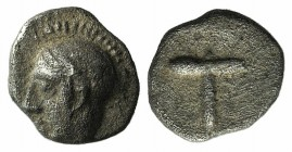 Arkadia, Tegea, c. 423-400 BC. AR Tetartemorion (5mm, 0.24g, 6h). Helmeted head of Athena Alea l. R/ T within shallow incuse square. BCD Peloponnesos ...