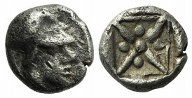 Asia Minor, Uncertain mint, 5th century BC. AR Hemiobol (5mm, 0.42g). Helmeted head of Athena r. R/ Star of four rays; pellets between rays; all withi...