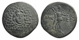 Paphlagonia, Amastris, c. 85-65 BC. Æ (22mm, 7.53g, 12h). Aegis. R/ Nike advancing r., holding long palm frond. SNG BM Black Sea 1316–8; HGC 7, 361. G...