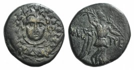 Paphlagonia, Amastris, c. 85-65 BC. Æ (21mm, 6.86g, 12h). Aegis. R/ Nike advancing r., holding long palm frond. SNG BM Black Sea 1316–8; HGC 7, 361. V...