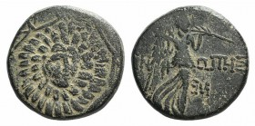 Paphlagonia, Sinope, c. 85-65 BC. Æ (20mm, 6.88g, 12h). Aegis. R/ Nike advancing r., holding palm; monogram to r. SNG BM Black Sea 1536. Green patina,...