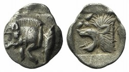 Mysia, Kyzikos, c. 450-400 BC. AR Hemiobol (8mm, 0.40g, 9h). Forepart of boar l.; tunny to r. R/ Head of lion l.; star to l.; all within incuse square...