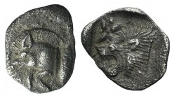 Mysia, Kyzikos, c. 450-400 BC. AR Hemiobol (8mm, 0.32g). Forepart of boar l.; tunny to r. R/ Head of lion l.; star to l.; all within incuse square. Vo...