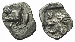 Mysia, Kyzikos, c. 450-400 BC. AR Hemiobol (8mm, 0.41g, 9h). Forepart of boar l., retrograde K on shoulder; to r., tunny upward. R/ Head of lion l.; t...