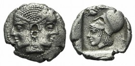 Mysia, Lampsakos, c. 500-450 BC. AR Drachm (18mm, 4.46g, 11h). Janiform female heads. R/ Helmeted head of Athena l.; olive spray(?) to upper l.; all w...