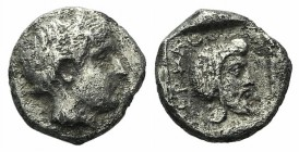 Mysia, Pergamon, c. 450 BC. AR Diobol (10mm, 1.61g, 6h). Laureate head of Apollo r. R/ Bearded head r., wearing Persian tiara, within incuse square. V...