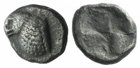 Troas, Abydos. Late 6th-early 5th centuries BC. AR Hemiobol(?) (6mm, 0.54g). Forepart of eagle l. R/ Quadripartite incuse square. Cf. SNG Ashmolean 95...