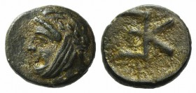 Troas, Kebren, c. 4th century BC. Æ (8mm, 0.62g, 12h). Head of satrap l., wearing tiara. R/ KE monogram. SNG Copenhagen 261; SNG von Aulock 1547. Gree...