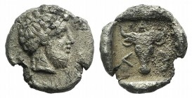 Troas, Lamponeia, 4th century BC. AR Drachm (15mm, 2.88g). Bearded head of Dionysos r. R/ Bucranium within incuse square. BMC 1. Very Rare, encrustati...