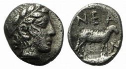 Troas, Neandria, 4th century BC. AR Obol (7mm, 0.55g, 12h). Laureate head of Apollo r. R/ Ram standing r. in shallow incuse square. SNG München 293; S...