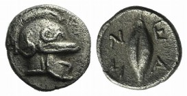 Troas, Neandria, c. 4th century BC. AR Hemiobol (6mm, 0.42g, 11h). Chalkidian helmet r. R/ Grain. SNG von Aulock 7626. Rare, slightly porous, Good VF