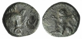 Troas, Ophrynion, 4th century BC. Æ (11mm, 1.92g, 12h). Helmeted head of Hektor facing slightly r. R/ Infant Dionysos kneeling r., holding grape clust...