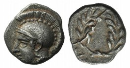 Aeolis, Elaia, c. 450-400 BC. AR Diobol (9mm, 1.26g, 6h). Helmeted head of Athena l. R/ Laurel wreath within incuse square. SNG Copenhagen 166. Good V...