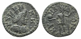 Aeolis, Kyme, 3rd century AD. Æ (18mm, 2.42g, 6h). Turreted and draped bust of Tyche r. R/ Tyche standing l., holding globe and trident. BMC 123. Gree...