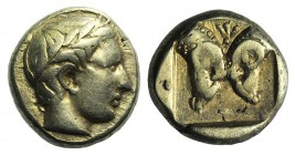 Lesbos, Mytilene, c. 454-428/7 BC. EL Hekte – Sixth Stater (10mm, 2.52g, 3h). Laureate head of Apollo r. R/ Confronted rams' heads; palmette above; al...