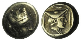 Lesbos, Mytilene, c. 412-378 BC. EL Hekte – Sixth Stater (9mm, 2.55g, 3h). Head of Kybele r., wearing turreted crown. R/ Head of Hermes r., wearing pe...