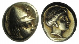 Lesbos, Mytilene, c. 377-326 BC. EL Hekte – Sixth Stater (9mm, 2.56g, 12h). Head of Kabeiros r., wearing pileos; two stars flanking. R/ Head of Persep...