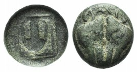Lesbos, Unattributed early mint, c. 500-450 BC. BI 1/12 Stater (8mm, 1.14g, 9h). Confronted boars' heads. R/ Amphora within linear square; all within ...