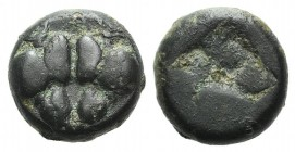 Lesbos, Unattributed early mint, c. 500-450 BC. BI Obol (8mm, 1.30g). Confronted boars' heads; crescent above. R/ Four-part incuse square. Cf. HGC 6, ...
