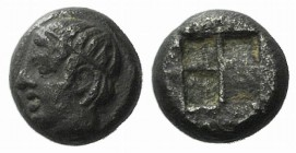 Lesbos, Unattributed early mint, c. 500-450 BC. BI 1/16 Stater (5mm, 0.65g). Diademed head of Apollo l. R/ Quadripartite incuse square. BMC 56-76; HGC...