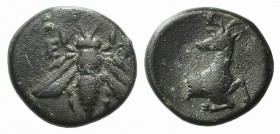 Ionia, Ephesos, circa 387-289 BC. Æ (13mm, 1.69g, 12h ). Bee. R/ Forepart of a stag r., head l. SNG Kayhan -; SNG Copenhagen 244. VF