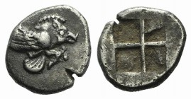 Ionia, Klazomenai, c. 480-400 BC. AR Diobol (9mm, 1.08g). Forepart of winged boar r. R/ Quadripartite incuse square. SNG München 451; SNG Kayhan 334; ...